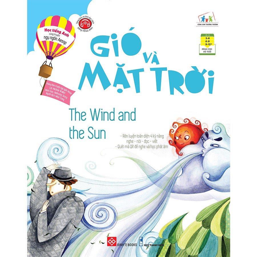 Học tiếng Anh cùng truyện ngụ ngôn Aesop - Gió và Mặt Trời - The Wind –  DINHTIBOOKS